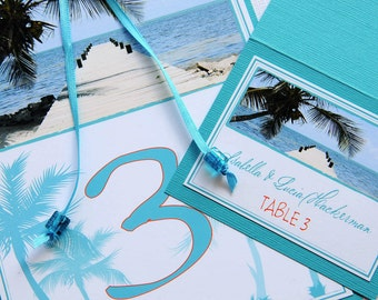 Tropical Beach Palm Tree Destination Wedding Table Numbers and Place Cards - Belize Beach Pier