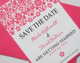 Hot Pink Tropical Hibiscus Damask Destination Wedding Save the Date