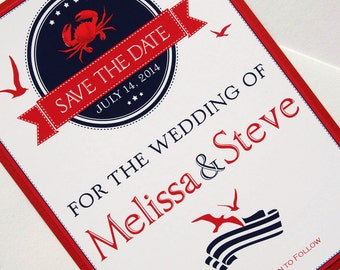 Crab Nautical Destination Wedding Save the Date
