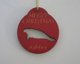 Personalized wooden christmas cut out manatee ornament or gift tag