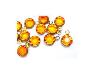 14 Vintage beads, 1 loop dangling brass channel beads Swarovski ORANGE crystal drop beads