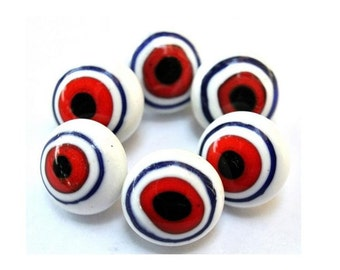 6 Vintage glass buttons white with red and blue circles metal shank 11mm