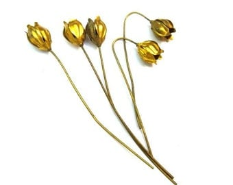 6 headpin metal flowers, RARE vintage, the flower is 13mm height, the metal pin is 70mm