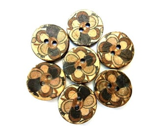 6 Buttons, coconut shell buttons flower ornament in earth colors suitable for button jewelry, 18mm
