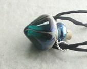 Mesmerize ---Beautiful Blue Green Lampwork Poison Bottle Necklace
