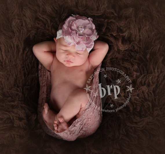 Baby Photo Prop Hair Accessory, Lace Rose, Flower Girl Hair Accessory, Handmade PInk Lace Cabbage Rose  to match your tutu