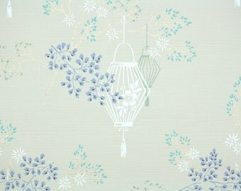 1950s Vintage Wallpaper by the Yard - Floral Wallpaper with Blue Periwinkle and White Flowers and Lanterns