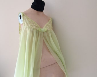 SALE Vintage Sheer Panties Double Nylon Chiffon Pinup Shadowline Peignoir 3 Pc Set 50s 60s Boudoir Nightie Lingerie Set LACE Retro was 66