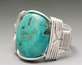 Kims Jewels Turquoise Sterling Silver Wire Wrapped Cabochon Ring - Made to Order and Ships Fast!