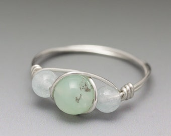 Chrysoprase & Aquamarine Sterling Silver Wire Wrapped Bead Ring - Made to Order, Ships Fast!