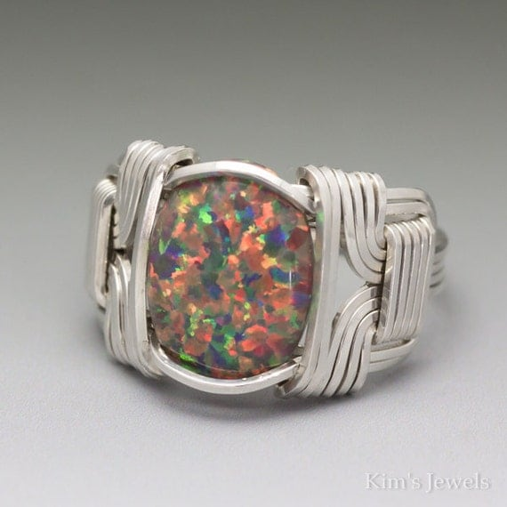Orange and Green Fire Man-Made Opal Cabochon Sterling Silver Wire Wrapped Ring ANY size