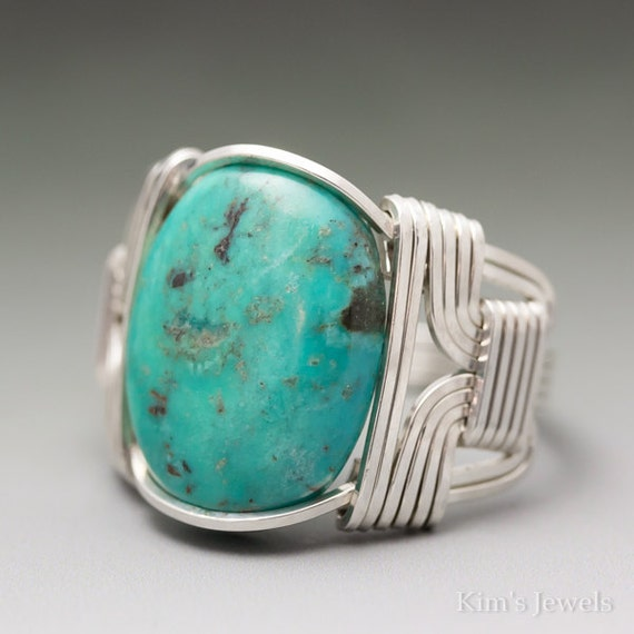 Kims Jewels Turquoise Sterling Silver Wire Wrapped Cabochon Ring