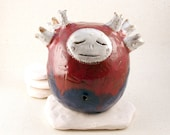 Ceramic Rattle Monster, Red and Blue Ceramic Sculpture Figurine with Silver Details