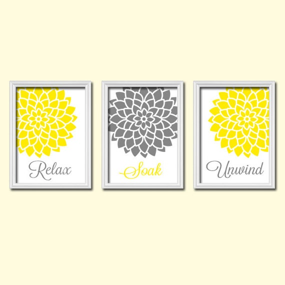 Yellow And Grey Bathroom Wall Decor : Yellow gray bathroom wall art canvas or prints