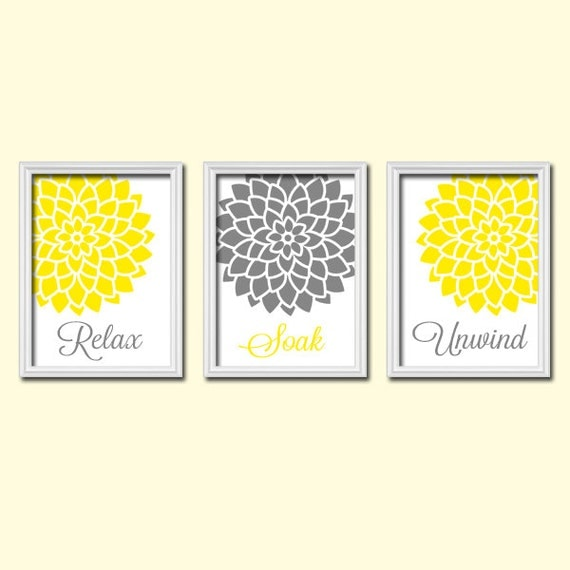 Bathroom Decor With Yellow Walls : Yellow gray bathroom wall art canvas or prints