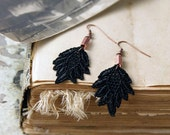 black lace earrings // FALLING LEAVES // lace earrings/ leaf earrings / black and copper / boho earrings / dangle earrings, gift for her
