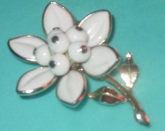 Vintage FAB White Milk Glass Flower Pin