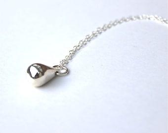 Sterling Silver Teardrop Necklace Lost Wax Casting Handmade Jewellery Classic Minimalist Womens Jewelry Gift Idea