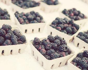 "Blackberries photograph rustic farmhouse kitchen decor neutral fruit still life black berries food print ""Berry Baskets"""