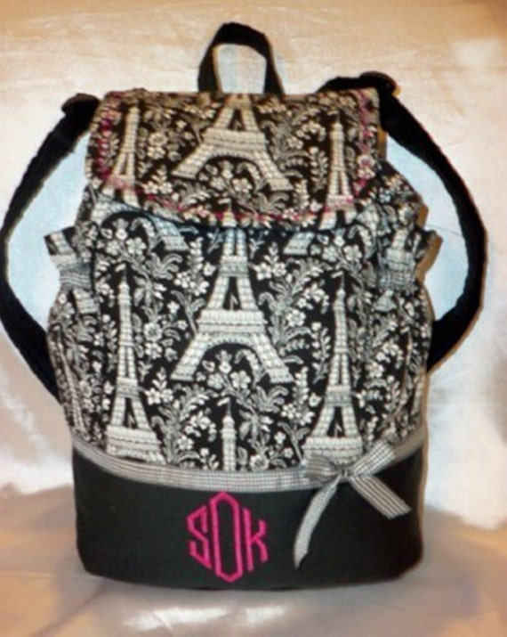 Paris Eiffel Tower toile back pack or diaper bag in 5 color choices all ages school book bag to college size great for all ages add name
