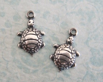 2 Tiny Silver Turtle Charms 3309