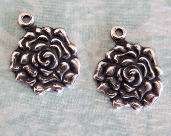 2 Small Silver Rose Charms 3266