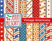 Vintage Americana Patriotic Digital Scrapbook Paper Pack - Instant Download