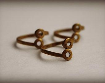 Double pad adjustable brass ring blanks with holes (3)