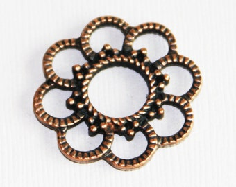 10 pcs of antique copper flower connector 26mm