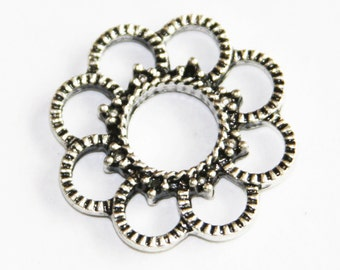 10 pcs of antique Silver  flower connector 26mm