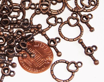 25 sets of Antiqued Copper fancy toggle clasps 18x13mm