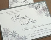 10% off SALE Lacy Snowflake Winter Wedding Invitations - December January Weddings - Silver - SAMPLE ONLY
