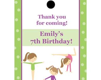 36 Personalized Birthday Favor Tags - Gymnastics