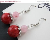 50% OFF AFTER CHRISTMAS Red Coral and Rose Quartz Earrings - soyon
