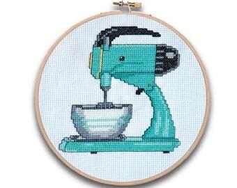 Retro Mixer Kitchen Cross Stitch Pattern Instant Download