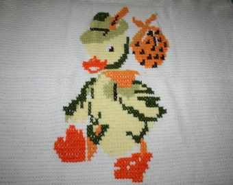 Vintage Duck Unisex Yellow Green Orange Knit Baby or Children Blanket