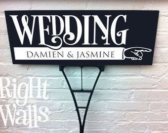 Wedding Personalized Sign Bold Directional Custom Wedding Direction Outdoor Sign with Stake