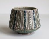 Stoneware Cup, Turquoise with White and Blue Detailing