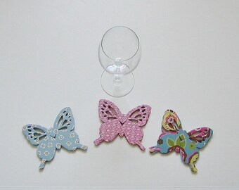 Wine Glass Butterfly Place Card Blue Pink Pattern (72)