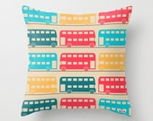 Buses throw pillow cover - Decorative throw pillow cover - Colorful pillow cover -Cool pillow case - Modern pillow cover