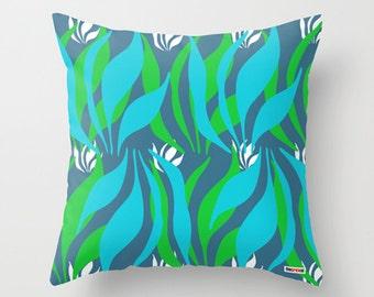 Jungle Decorative Pillow Cover -Blue and green throw pillow case - Modern pillow - Novelty pillow - Sofa pillow - Decorative pillow