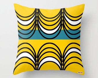 Yellow and Black Decorative throw pillow cover - Geometric pillow cover - Modern pillow cover