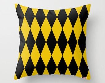 Black and yellow Rhombus Decorative throw pillow cover - Colorful pillow cover - Modern pillow cover