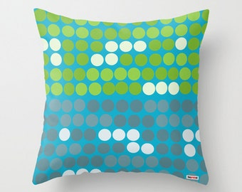 Decorative throw pillow cover - Blue and green pillow cover - Dots pillow cover - designer pillow cover - Modern pillow cover