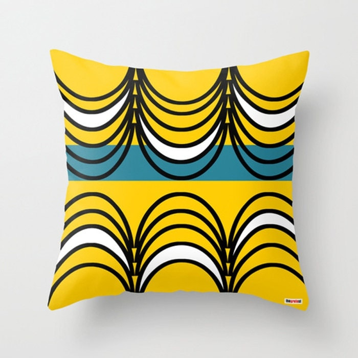 Yellow And Black Decorative Pillows : Yellow and Black Decorative throw pillow cover Geometric