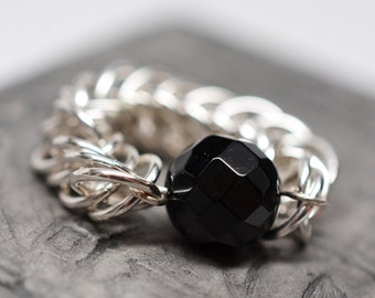 Sterling silver and onyx half persian chainmaille ring