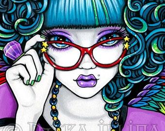 Star Rainbow Angel Fairy Canvas ACEO CU