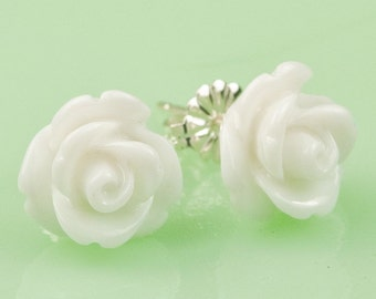 White Lucite Rose Button Post Earrings