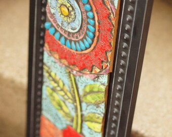 Mosaic Wall Art Ceramic Tile Pottery Semiprecious Stones, Colorful Flower, Blossom in Red Vase Clay Tile Wall Art Vertical Framed Boho Art
