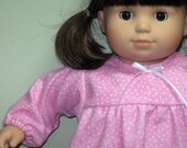 Bitty or Twins Doll Clothes - Marbled Pink with White Dots Nightgown